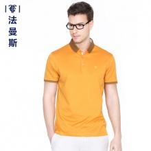 法曼斯2015夏装新款长绒棉短袖t恤商务男士休闲天丝翻领纯色上衣