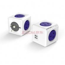 PowerCube魔方插座接线板 创意多功能荷兰Allocacoc模方插座 办公神器 USB款/无延长线直插(蓝)
