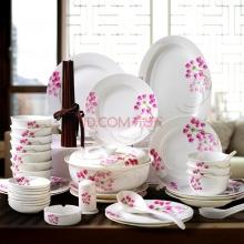 剑林 景德镇陶瓷56头韩式餐具套装 红袖添香 FZG453HX56
