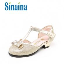 斯乃纳至悦精品中童鞋 女童皮鞋高跟蝴蝶结公主鞋