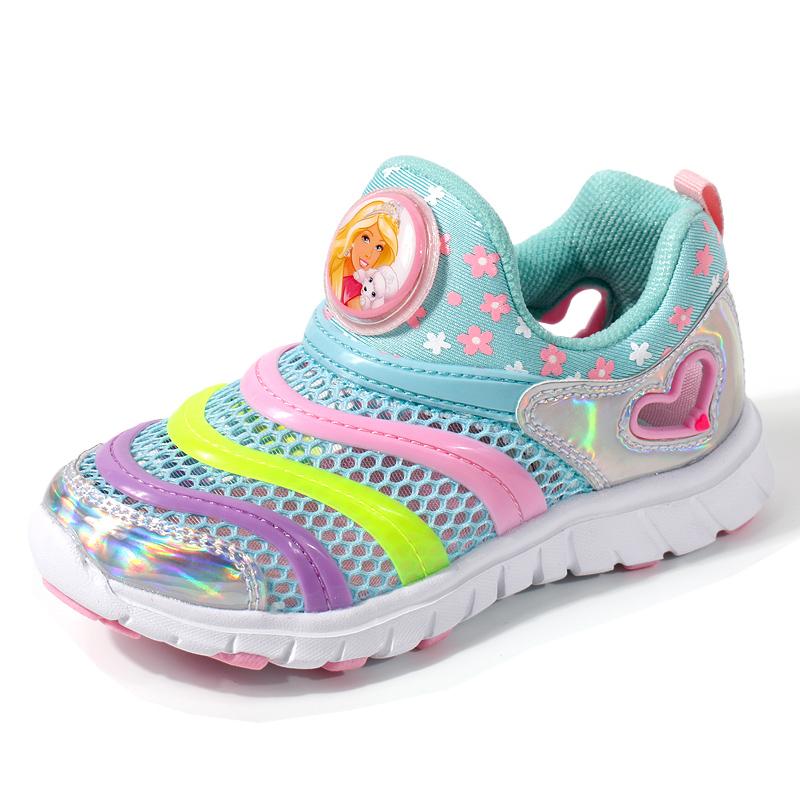 芭比毛毛虫童鞋夏新款网鞋女童运动鞋儿童鞋子2017春款小孩子透气