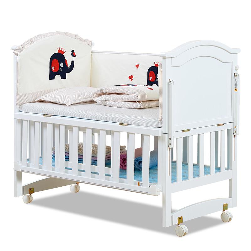 呵宝欧式婴儿床实木BB床白色大宝宝床 摇篮床多功能儿童床送蚊帐