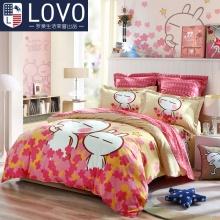 Lovo家纺罗莱生活出品儿童床品纯棉四件套兔斯基卡通全棉男孩女孩